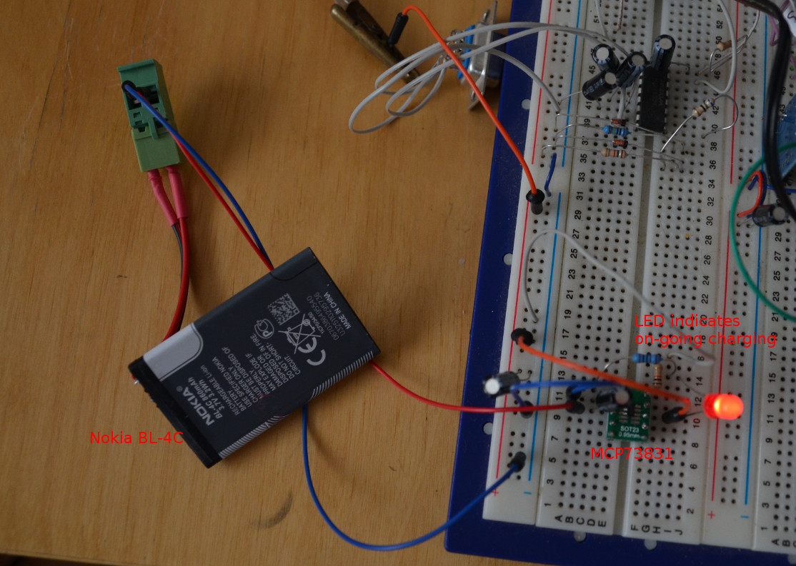 MCP73831 and BL-4C on Breadboard