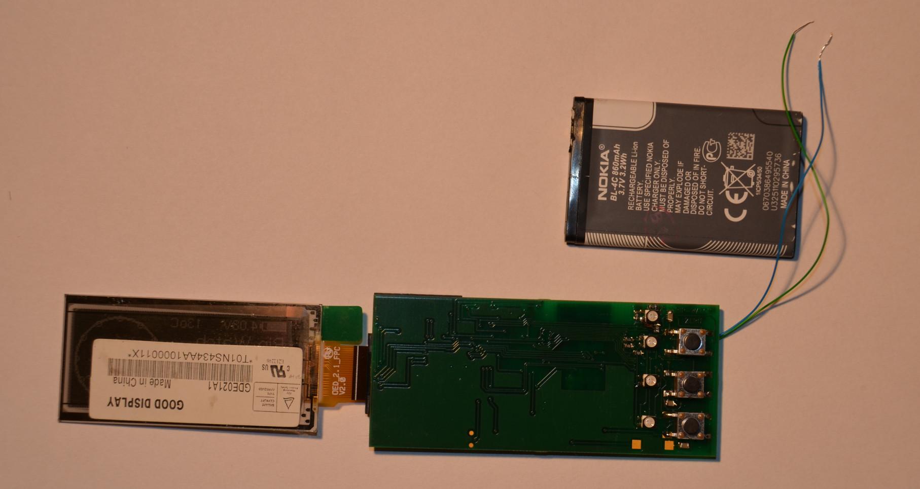 PIP-Watch Zero: Top PCB side, unfolded.